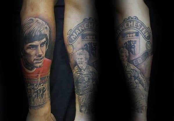 Mens Leg Manchester United Tattoo Design Ideas