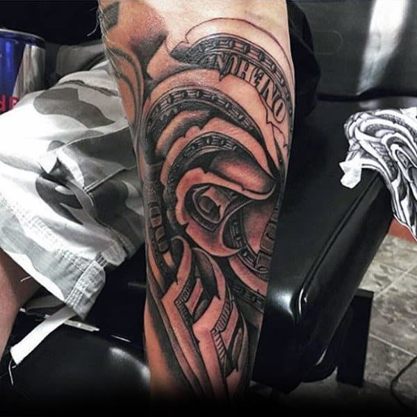 Mens Leg Money Rose Tattoo