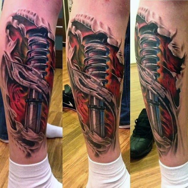 Shock leg tattoo tattoo collections for Suspension design