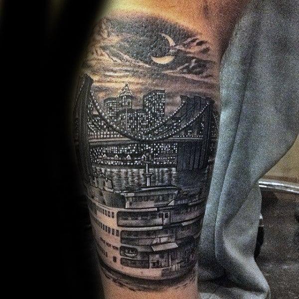 Mens Leg Sleeve Brooklyn Bridge Night Sky Tattoos