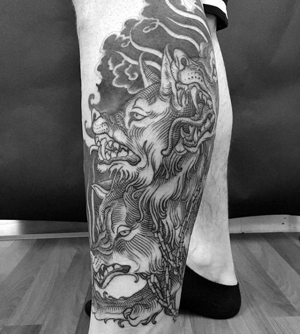 Mens Leg Sleeve Cerberus Black Ink Tattoo Designs