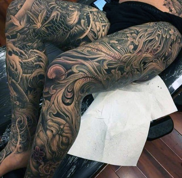 Men's Leg Sleeve Japanese Tattoo Designs
