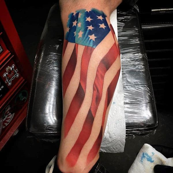 Mens Leg Sleeve Patriotic Watercolor American Flag Tattoos