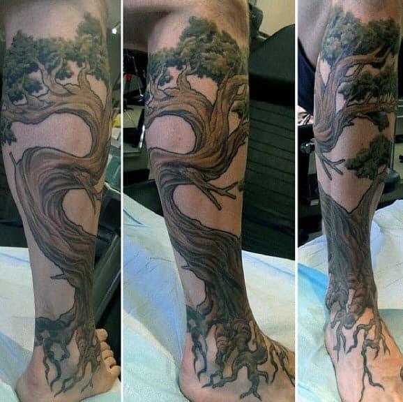 Mens Leg Sleeve Tattoo Of Bonsai Tree
