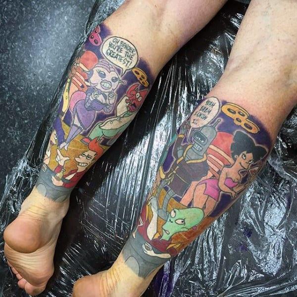Mens Leg Sleeves Futurama Tattoos