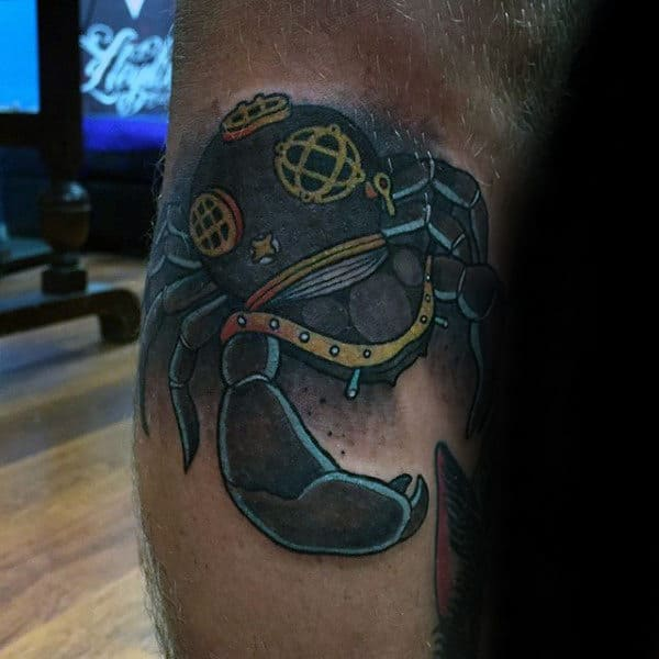 Mens Leg Tattoo Of Crab With Diving Helmet
