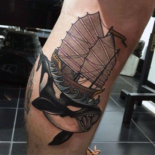 Mens Leg Tattoo Orca Design