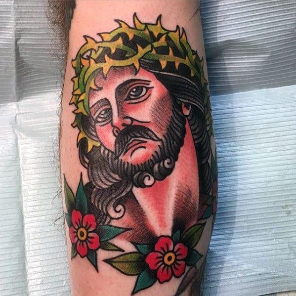 Mens Leg Traditional Jesus Portrait Tattoo Ideas