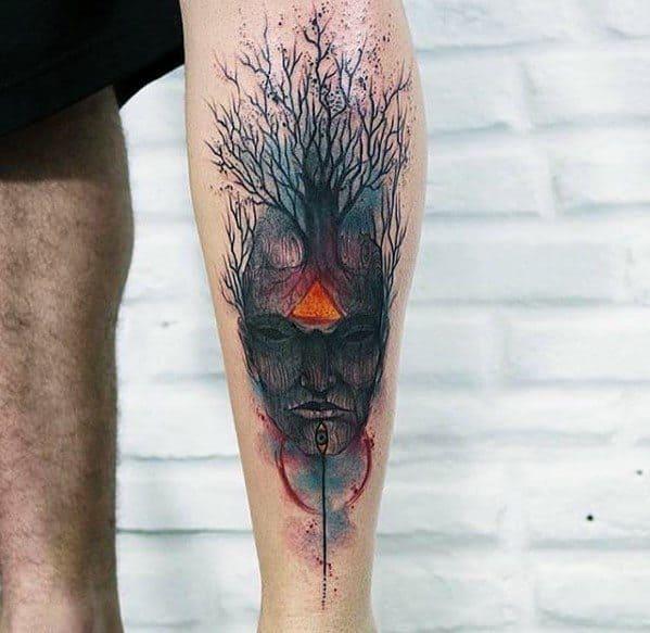 Mens Leg Tree Consciousness Tattoo Design Inspiration