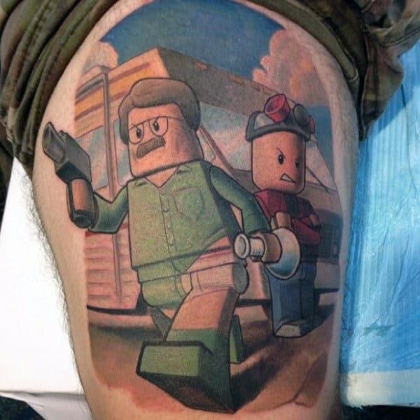 Mens Lego Breaking Bad Thigh Tattoos