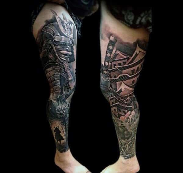Mens Legs Amazing Warrior Tattoo