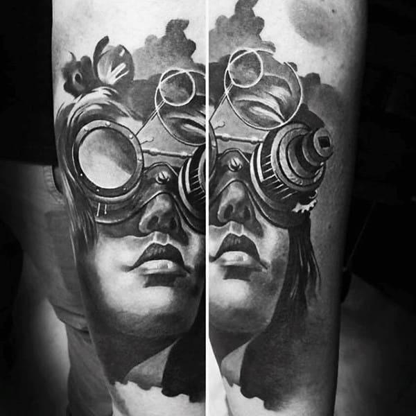 Mens Legs Beautiful Lady Steampunk Tattoo
