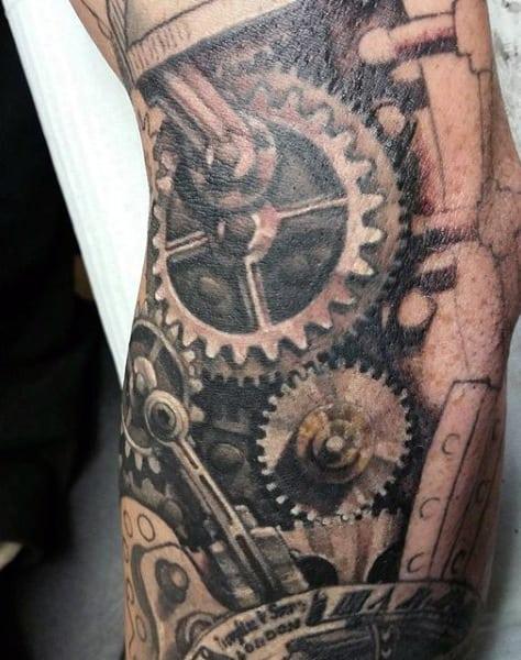 Mens Legs Circular Gear Steampunk Tattoos