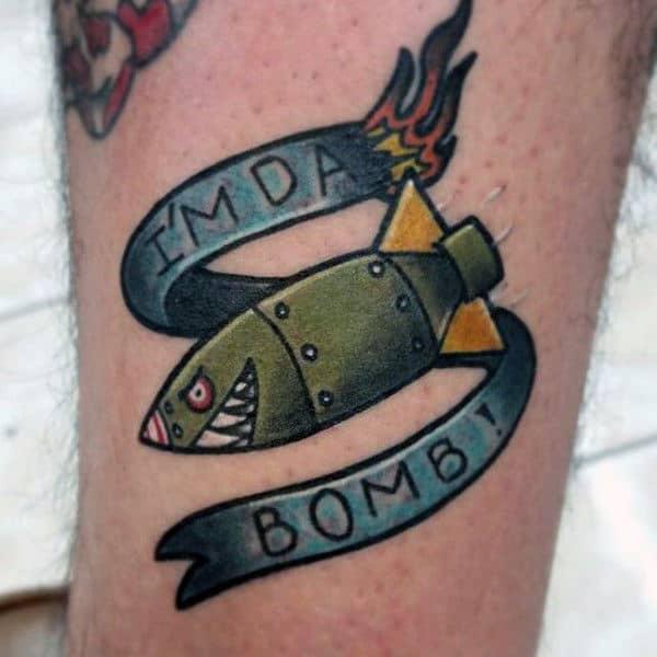 Mens Legs Cute Im The Bomb Green Fish Tattoo