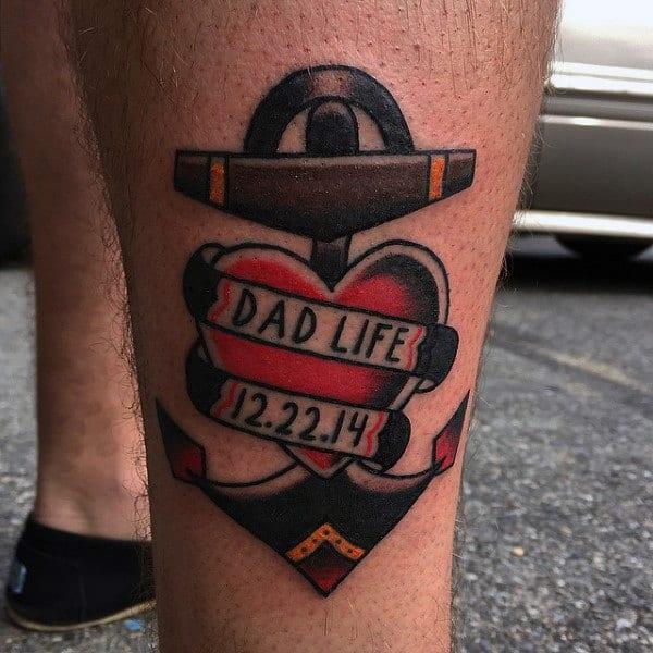 Mens Legs Dads Tribute Tattoo