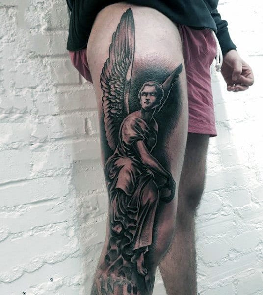 Mens Legs Realistic Grey Guardian Angel Tattoo
