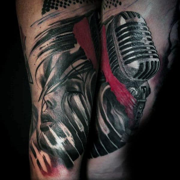 Mens Legs Sensual Lady Microphone With Red Streak Tattoo