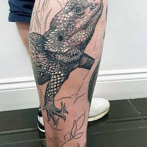 Mens Legs Terrestrial Lizard Tattoo