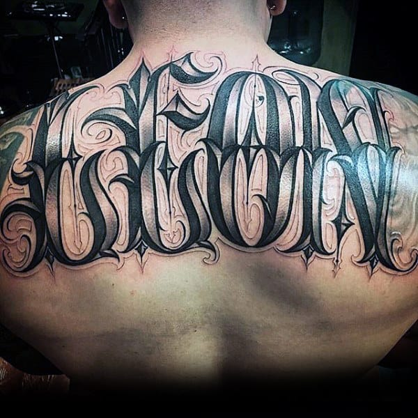 Mens Leon Last Name Ornate Full Back Tattoo Design