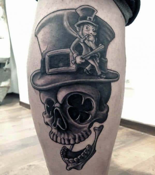 Mens Leprechaun Tattoo Ideas On Side Of Leg