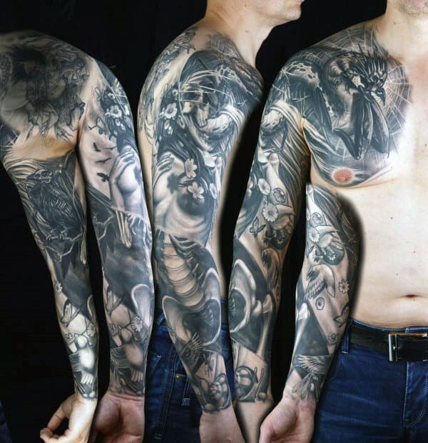 Mens Life And Death Skeleton And Female Tattoo Full Sleeve