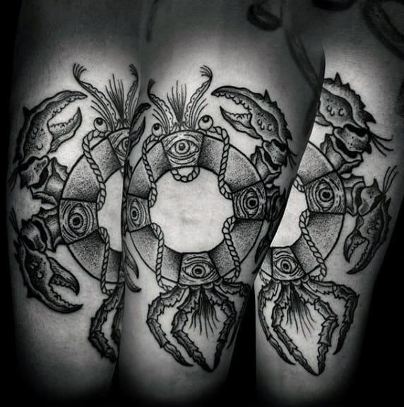 Mens Lifesaver Crab Arm Tattoo Designs