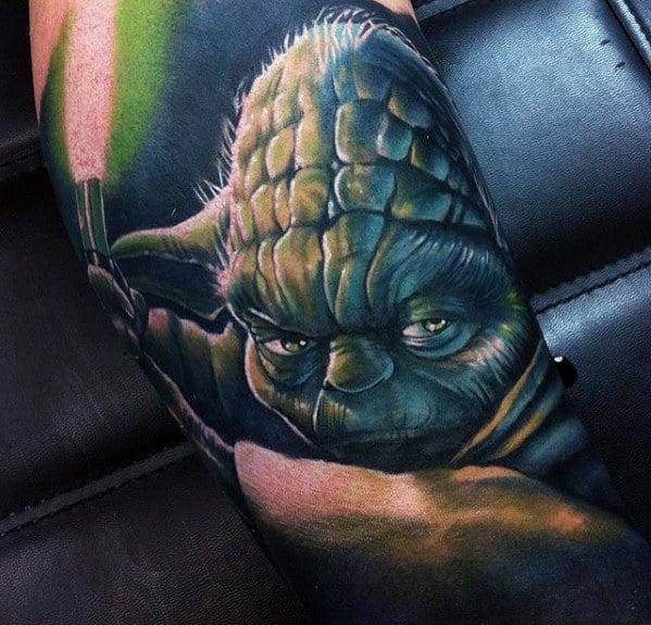 Mens Light Saber 3d Realistic Yoda Sleeve Tattoos