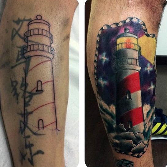 Mens Lighthouse Cover Up Tattoo In Color
