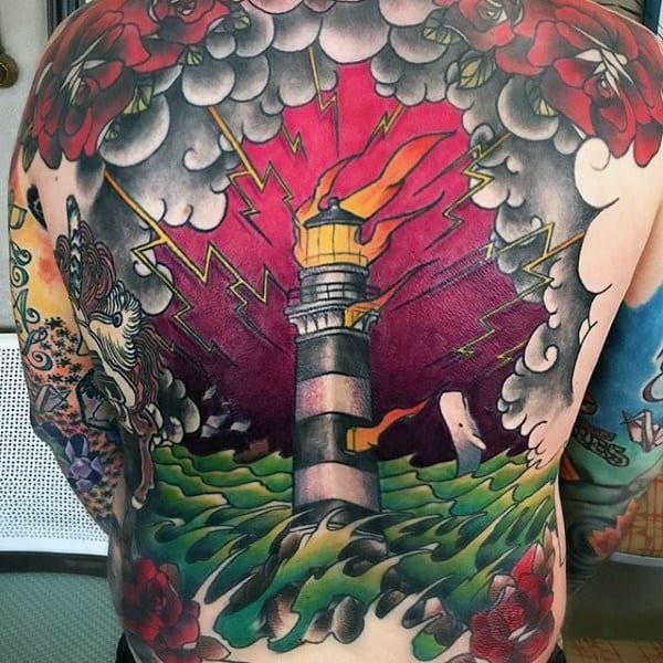 Mens Lighthouse Lighting Traditional Back Tattoos