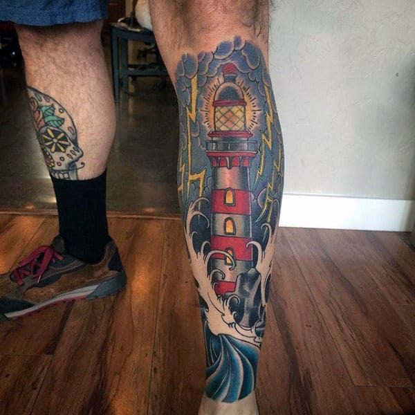 Mens Lighthouse Shin Tattoo Designs