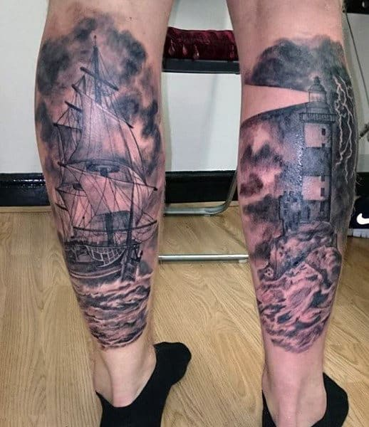 Mens Lighthouse Tattoo Designs On Back Of Legs