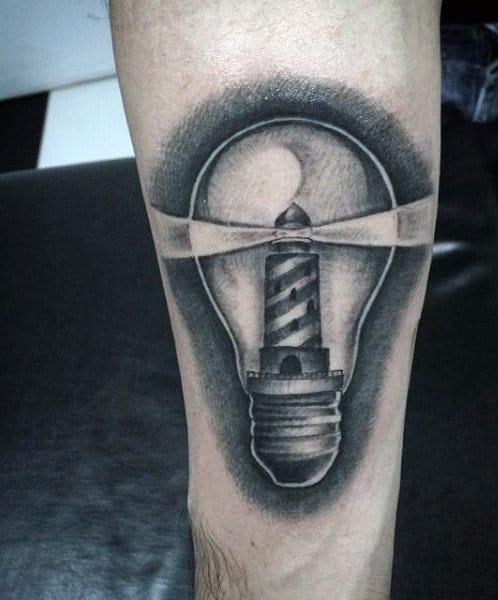 Mens Lighthouse Tattoo Inside Of A Lightbulb