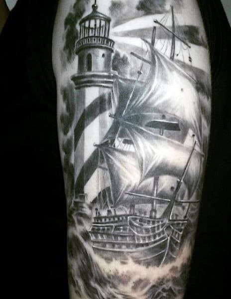 Mens Lighthouse Tattoos