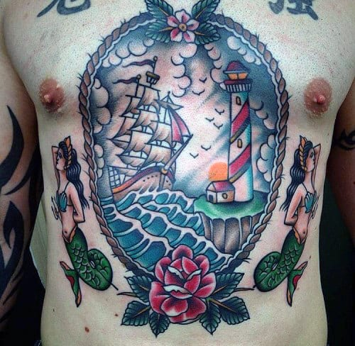 Mens Lighthouse With Sailing Ship Male Traditional Chest Tattoo Designs