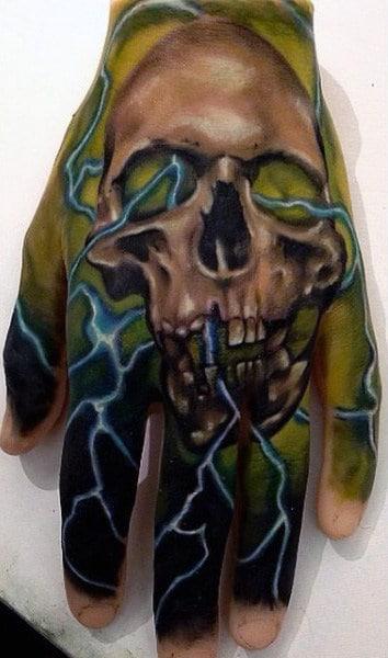 Mens Lightning Bolt Tattoo On Hands With Skull