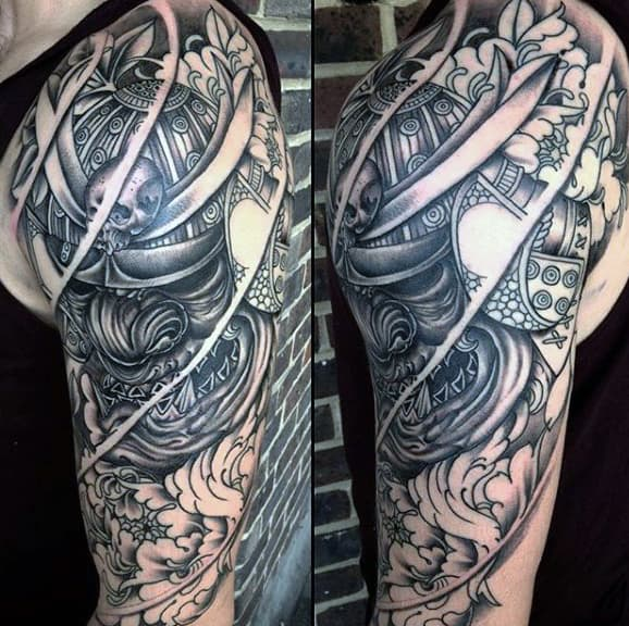 Mens Line Work Black Samurai Mask Half Sleeve Tattoo