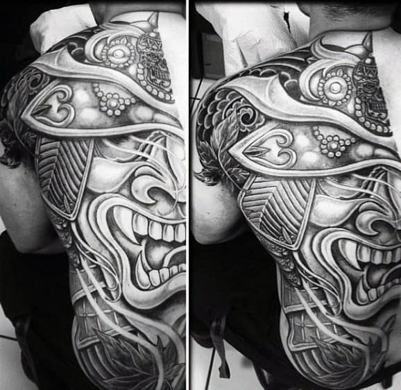 Mens Linework Bold Samurai Mask Half Back Tattoo