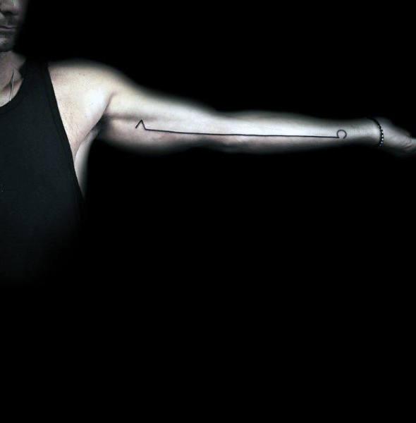 Mens Linework Minimalist Alpha Omega Full Arm Tattoo