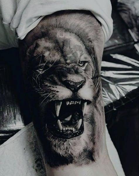 Men's Lion Bicep Arm Tattoos