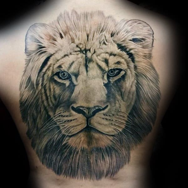 Mens Lion Head Back Tattoo