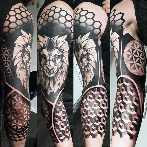 Mens Lion Head Geometric Sleeve Tattoo Ideas