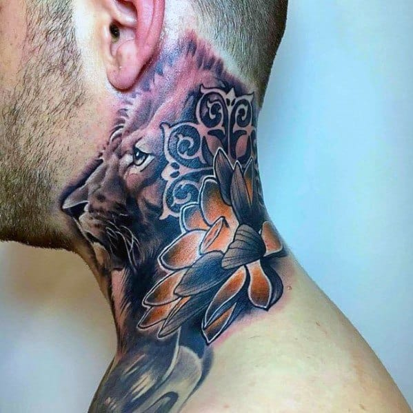 30 Lion Neck Tattoo Ideas For Men