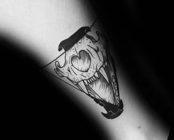 Mens Lion Skull Triangular Leg Tattoos