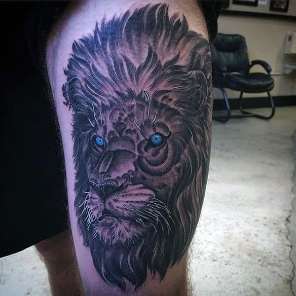 Men's Lion With Crown Tattoo