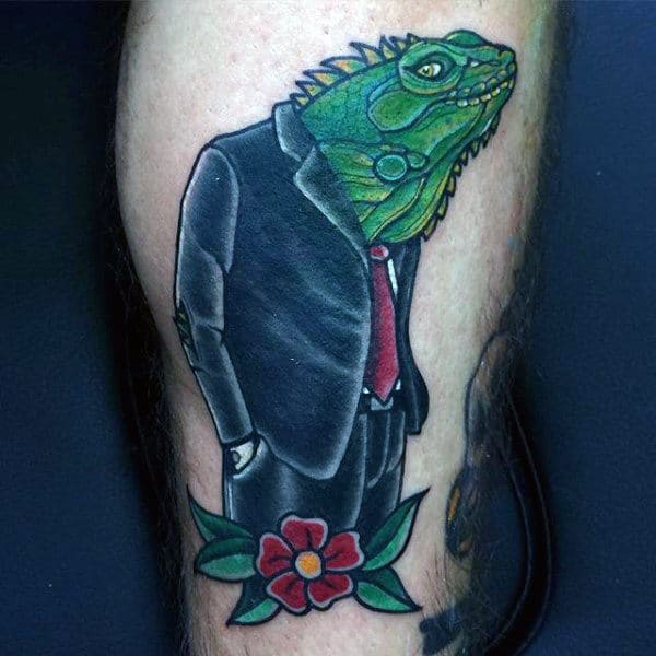 Mens Lizard With Formal Attire Tattoo On Calves