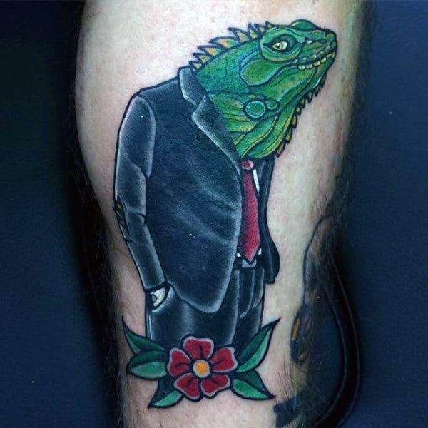 Mens Lizard With Formal Attire Tattoo On Calves