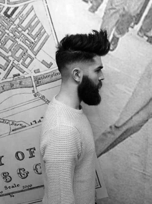 Mens Long To Medium High Fade Hairstyles With Beard