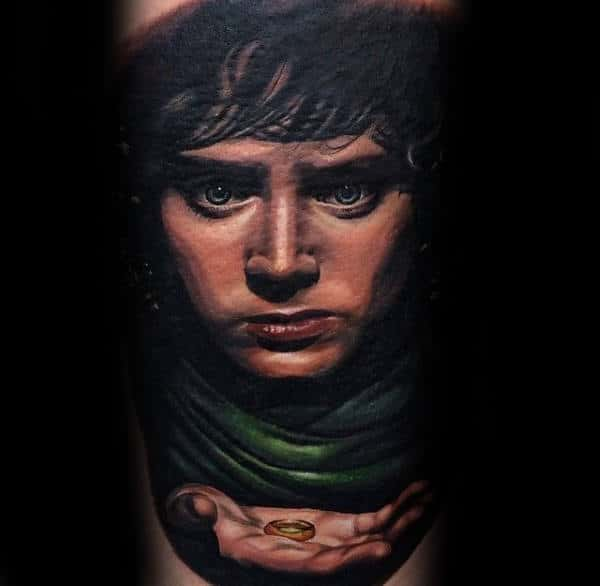 Mens Lord Of The Rings Frodo Baggins Realistic Arm Tattoos