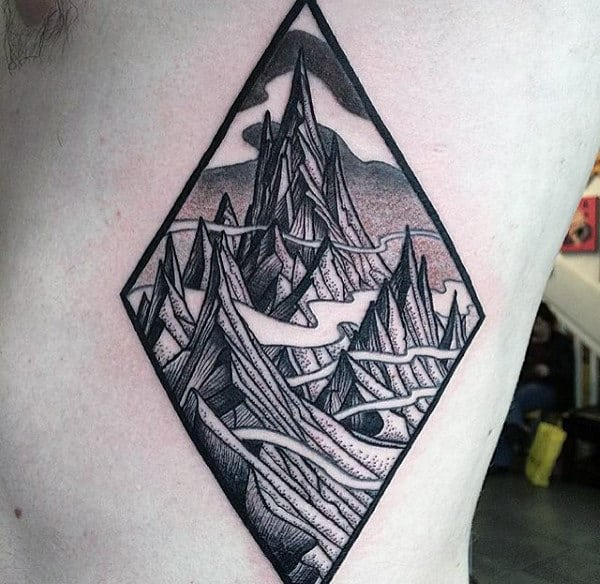 Mens Lord Of The Rings Misty Mountain Rib Cage Side Tattoos