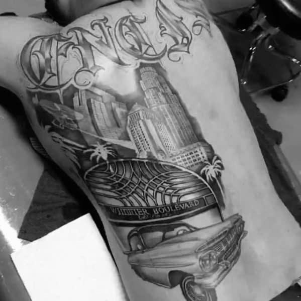 Mens Los Angeles Skyline Tattoo Design Ideas Half Back